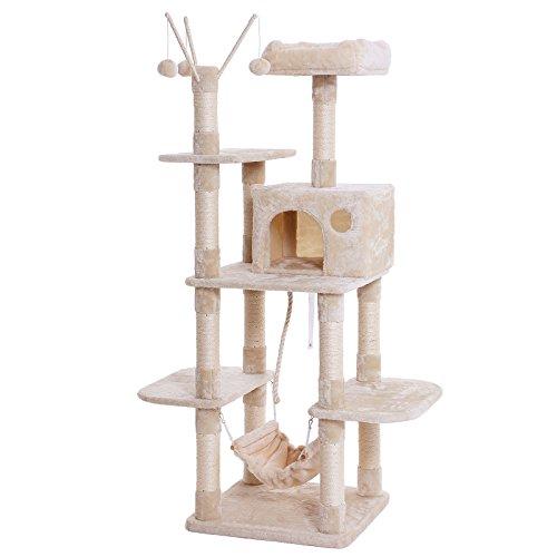 SONGMICS キャットタワー 麻紐 遊べるポンポン 手首より太い支柱 ゆらゆらハンモック 匂いなし NPCT86M