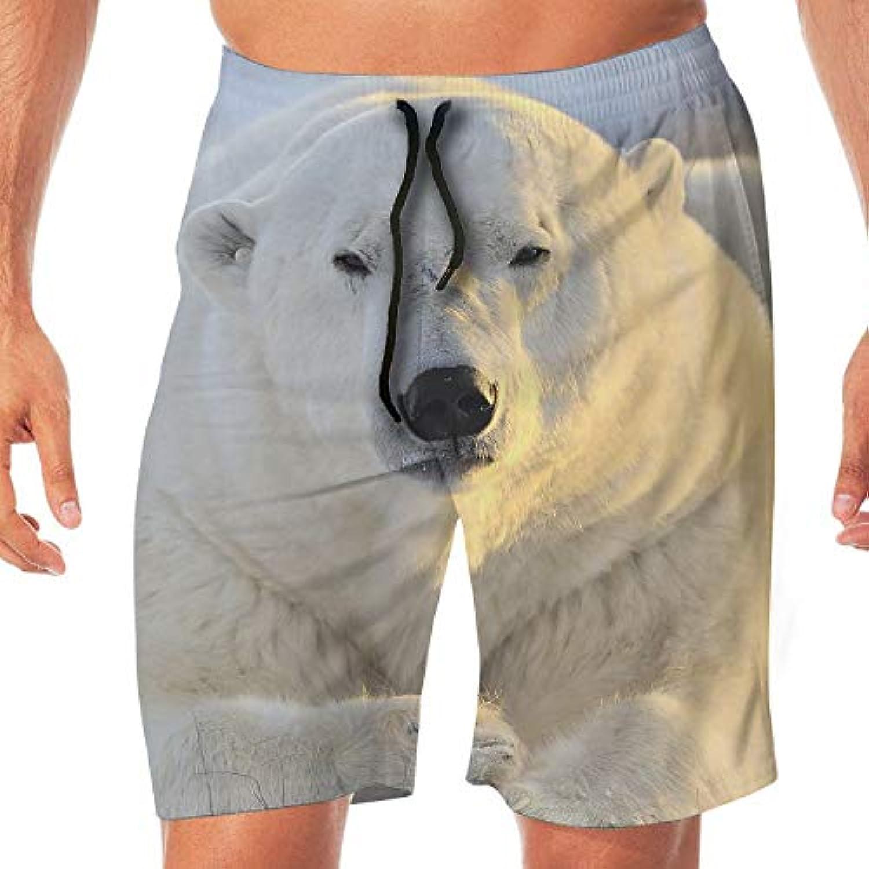 メンズ水着 ビーチショーツ ショートパンツ 白熊 スイムショーツ サーフトランクス 速乾 水陸両用 調節可能