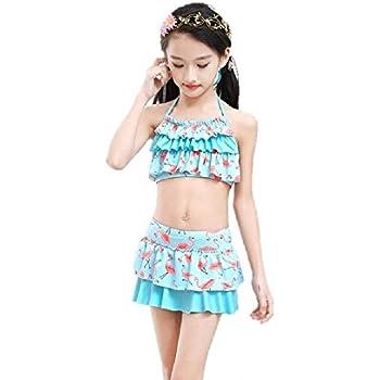 a3bff1a68626d (美来Kids) 子供 女の子 セパレート 水着 フリル ドット ハート 肩紐調節 オフ