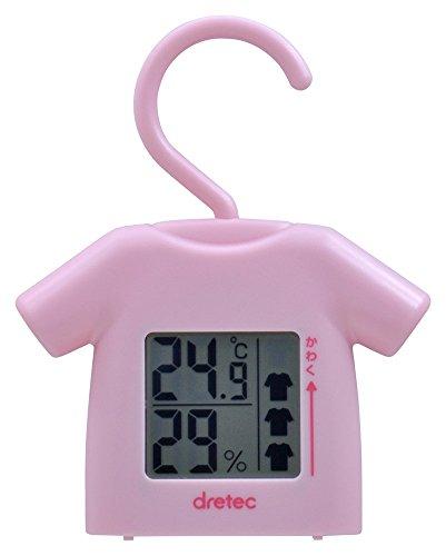 ドリテック(dretec) 部屋干し番 湿温度計  ピンク O-262PK