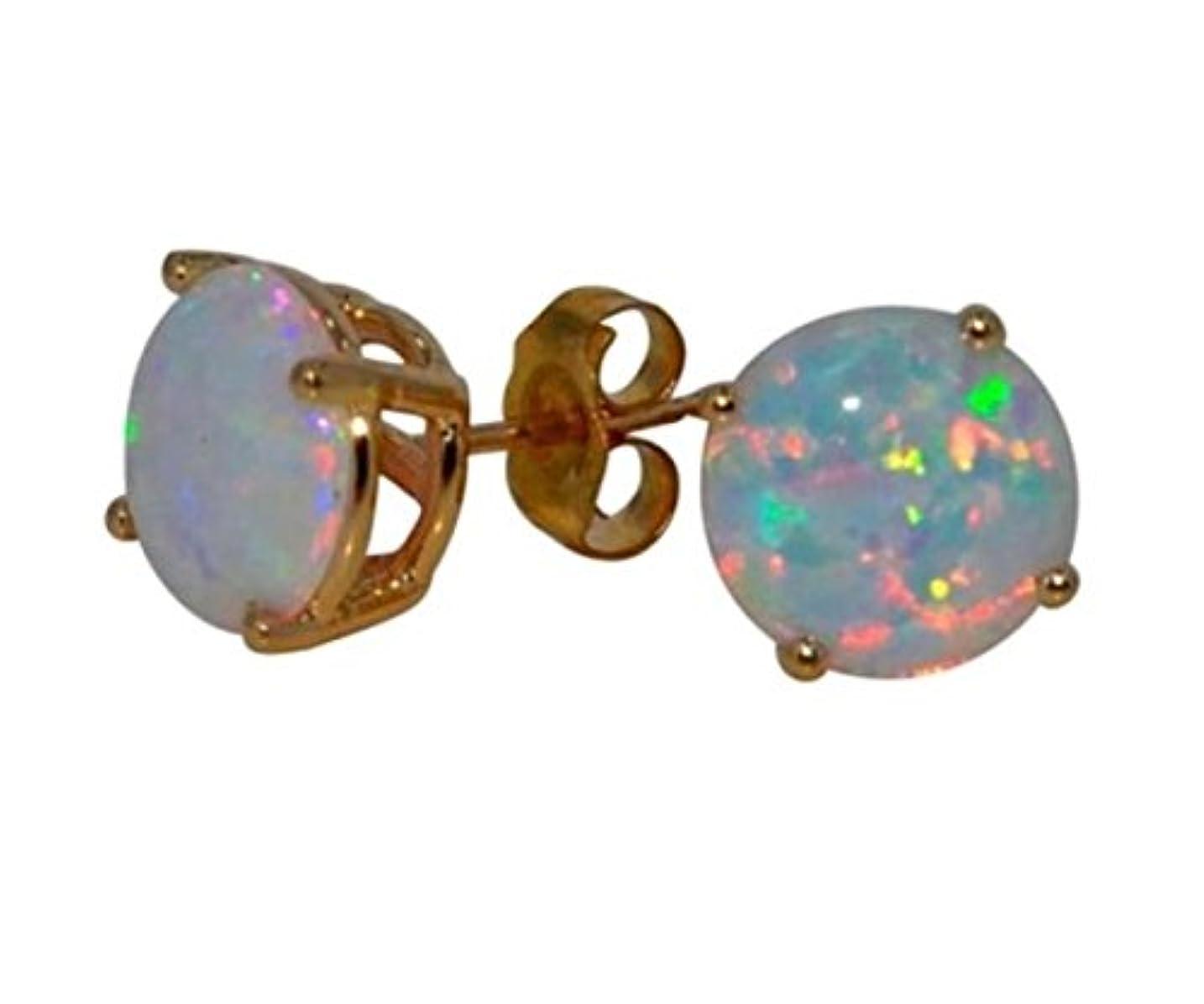 ツイン大工施し14Kt Yellow Gold Simulated Opal 6mm Round Stud Earrings