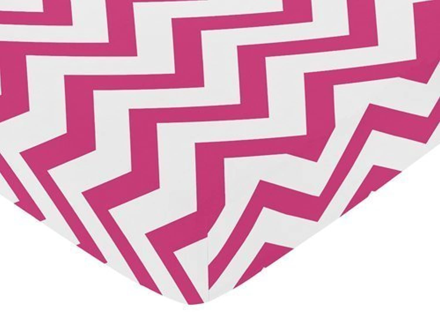 Sweet Jojo Designs Fitted Crib Sheet for Hot Pink and White Chevron Collection Baby/Toddler Bedding - Zig Zag Print [並行輸入品]