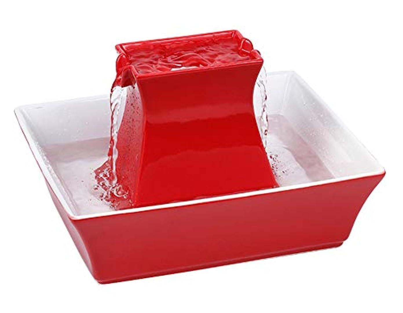 ペット自動給水器セラミックス自動サイクル噴水猫犬飲用噴水2L大容量(赤、30 * 30 * 21cm)