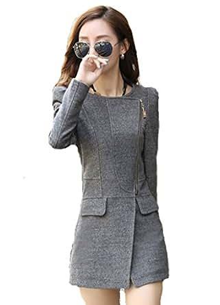(グレースライフ) GraceLife スリム 美スタイル ジップ デザイン ウールコート (0: グレー Sサイズ)