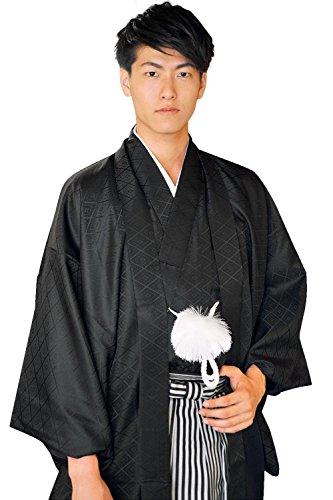 (キョウエツ) KYOETSU 結婚式 成人式 メンズ羽織袴3点セット 紋付 金刺繍家紋入り (着物/羽織/縞袴) (LL, 黒(家紋無し))
