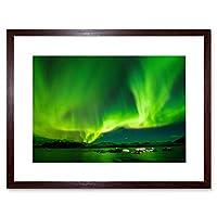 Northern Lights Aurora Borealis Green Framed Wall Art Print 光緑壁