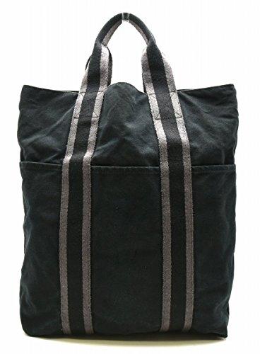 [エルメス] HERMES フールトゥ カバス トートバッグ ハンドバッグ キャンバス 黒 ブラック グレー [中古]