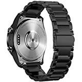 Kartice Compatible Ticwatch Pro Stainless Steel Safe and Durable Metal Replacement Band,22MM Metal Replacement Bands Compatible Ticwatch Pro/Samsung Gear S3 Frontier / S3 Classic(A-Black)