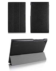 ASUS MeMO Pad 7 ME572CL 手帳型 レザーケース 横開き ASUSタブレット カバー ブックカバーケース 画面保護/軽量/薄 本体の傷つきガード 保護カバー/保護ケース ASUSプロテクター スタンドケース/スタンドカバーME572-O29-T41111 (ブラック)