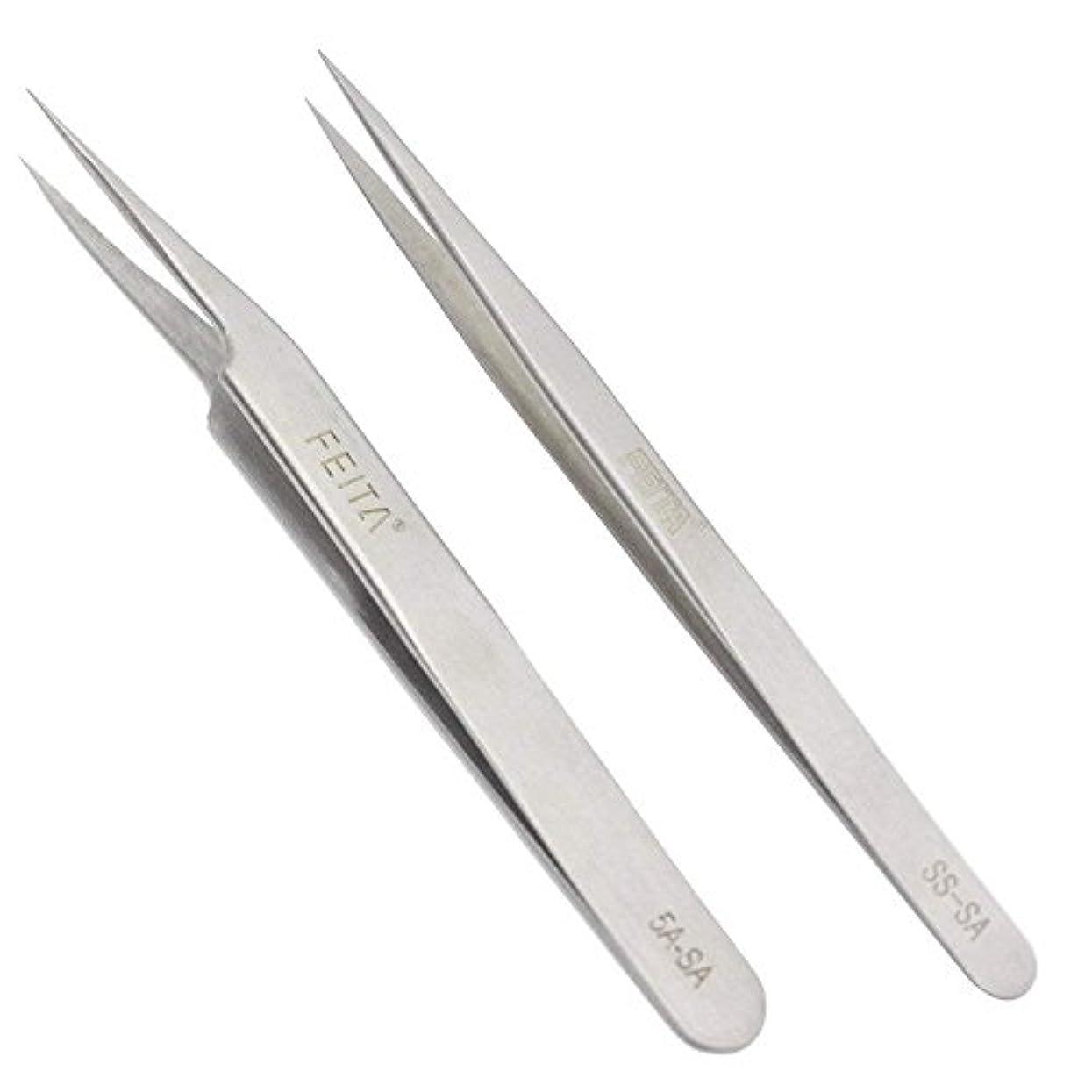空気散髪すり減るFEITA 精密 ステンレス製 ピンセット ストレート スラント先端 プロ仕様 高级な ピンセットセット まつげエクステ クラフト ジュエリー製作 眉毛抜き用