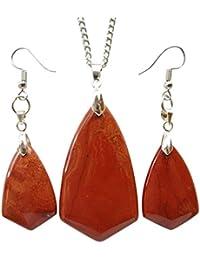 [yuteng] ネックレス&イヤリングセット レッドジャスパー 逆三角形 ファッション 天然石 パワーストーン ペンダント