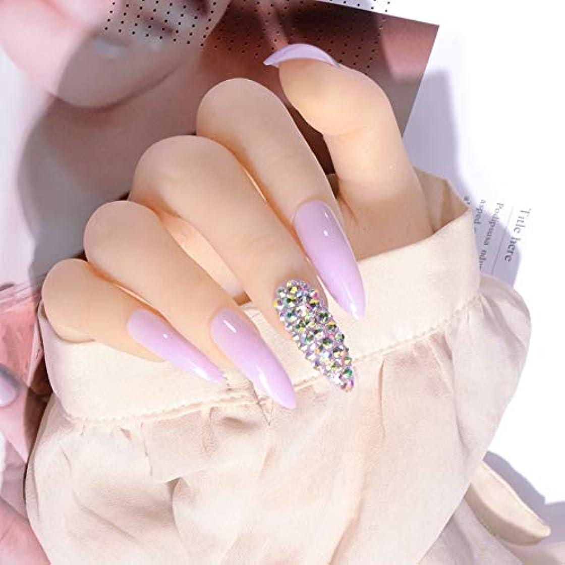 記憶に残る真似る蓄積するXUTXZKA 紫の爪ネイルヴェール偽の爪に長い光沢のあるプレス
