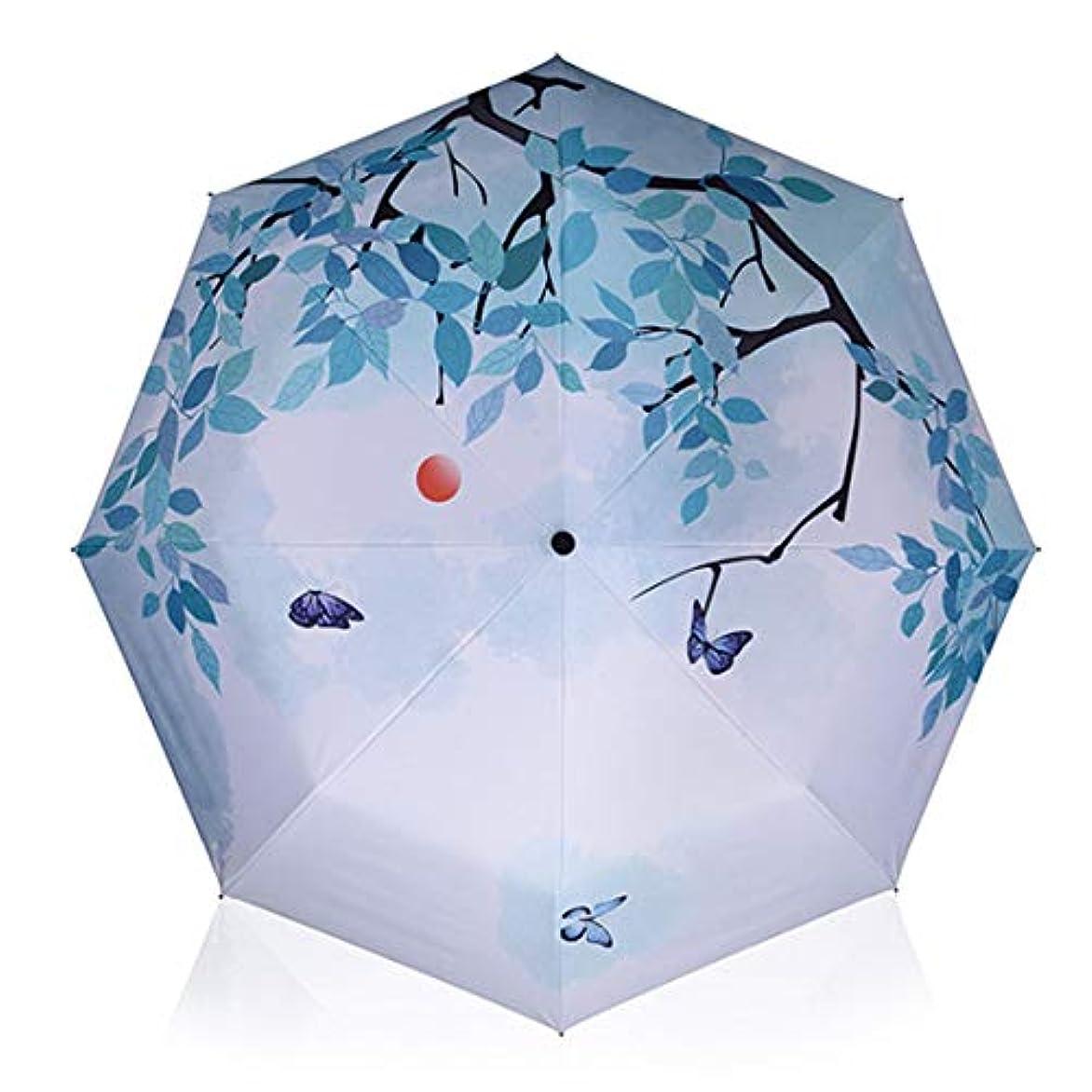 ドーム放棄する報酬HOHYLLYA ブルーツリーパターン折りたたみ日傘女性の紫外線保護傘屋外防風防水傘黒表面付き逆さ傘 sunshade (色 : ブルー)