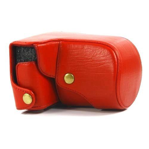 【全4色】ニコン 1 J1用カメラケース レトロなPUレザーデジカメケース レッド PU Leather case for Nikon 1 J1 (1905-3)