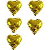 uxcell バルーン ホイル ハートの形 風船 誕生日 結婚式 パーティーの装飾 ゴールドトーン 12.7cm 5個入り