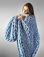 女性の粗い織布毛布 - ソリッドカラーラフな手 - 余暇暖かい冬のニット毛布ソファの背景ブランケット装飾 - 布の粗い線編みDIYの手編みの寝具,Blue,130 * 170Cm