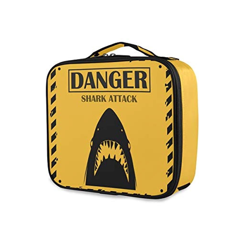 ささいなビルおばあさんKAPANOU プロ用 メイクボックス サメの目撃標識黄色危険攻撃 多機能 高品質 美容師 マニキュリスト 刺青師 専用 化粧ボックス メイクアップアーティスト 収納ケース メイクブラシ 化粧道具 大容量