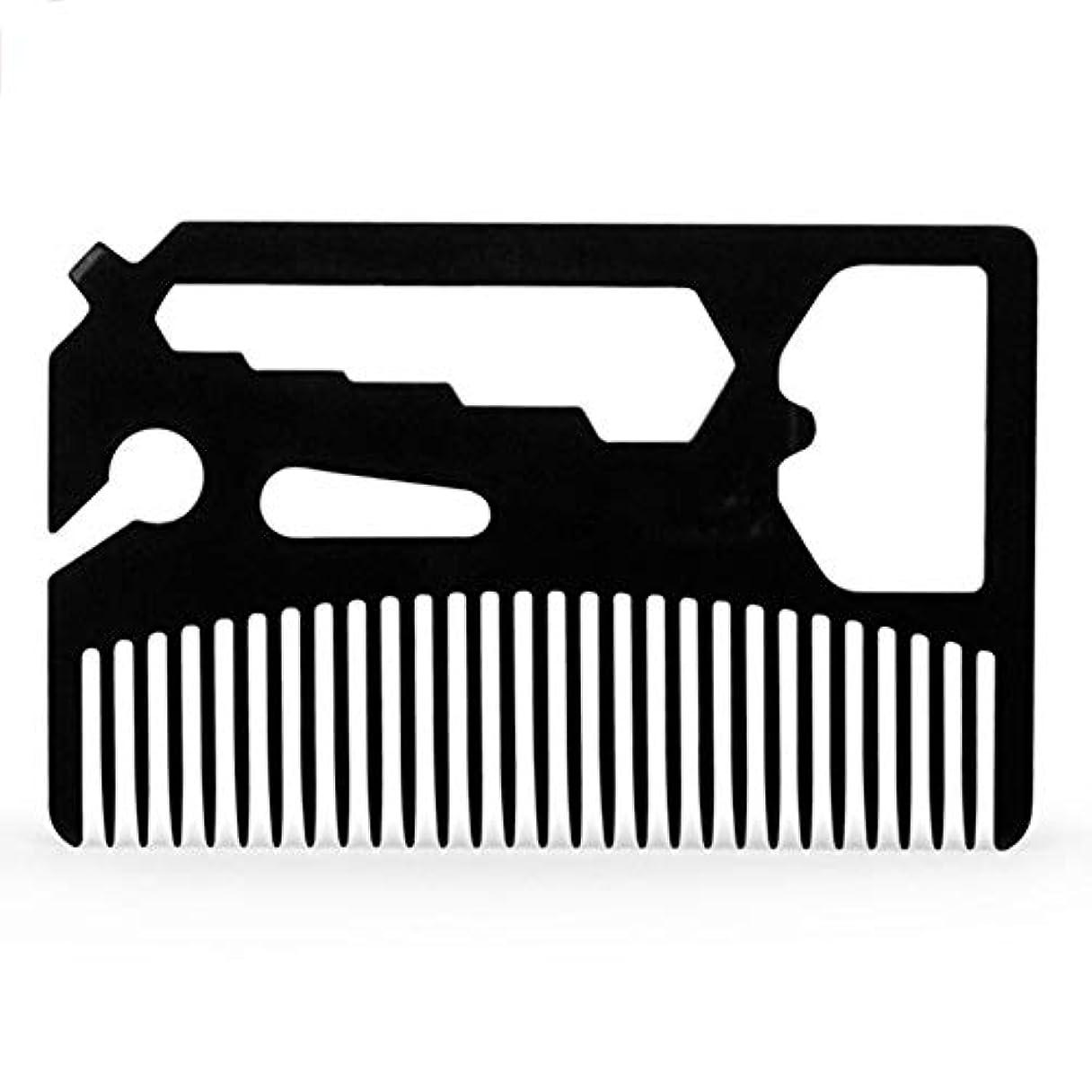 ターミナルデータひばりACHICOO 多機能ヘアブラシ ひげくし ステンレス鋼 栓抜き 髭櫛 金属 プラスチック 折りたたみ 男性 髪髭トリムツール 黒