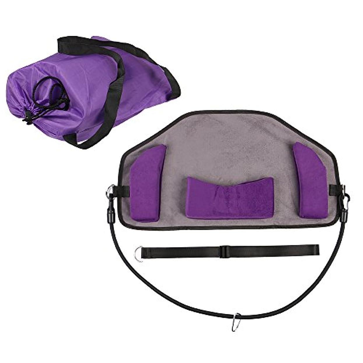 サドル励起報酬ネックハンモックネックペイントリリーフのためのより良いハンモックポータブルと調節可能なネックストレッチャーあなたの疲れを速やかに解消 (紫の)