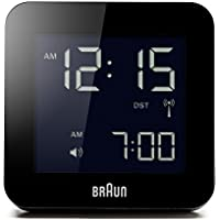 Braun Unisex-Adult Digital Radio Controlled Digital Alarm Clock with LCD Dial Display, BNC009BK-RC