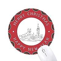 スケッチランドマーク英国イングランドの旗のイラストパターン 円形滑りゴムのクリスマスマウスパッド