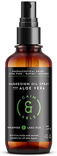 Caim & Able Magnesium Oil Spray Bottle with Aloe Vera 125ml - Less Itchy for Sensitive Skin - Australian M