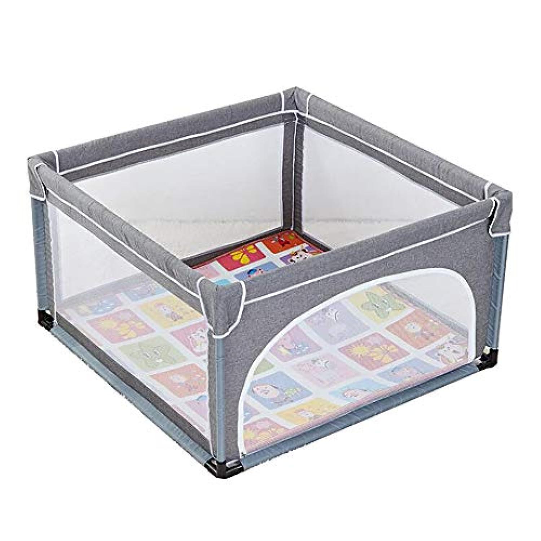 ベビープレイペン 赤ちゃんの遊び場屋内の家の子供の幼児の柵子供の安全クロールマットアンチ秋のガードレール、120×120センチメートル、グレー (サイズ さいず : Fence+mat)