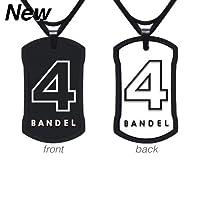フットサル用品・アクセサリー[バンデル]ナンバーネックレス No.4 リバーシブルタイプ(ブラック&ホワイト)60cm(縦40mm横24mm)[BANDEL]