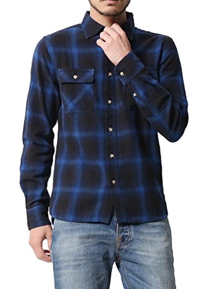 算術虚偽続編[アビト] シャツ チェックシャツ カジュアルシャツ 長袖 メンズ ダーク ブルー オンブレ M サイズ