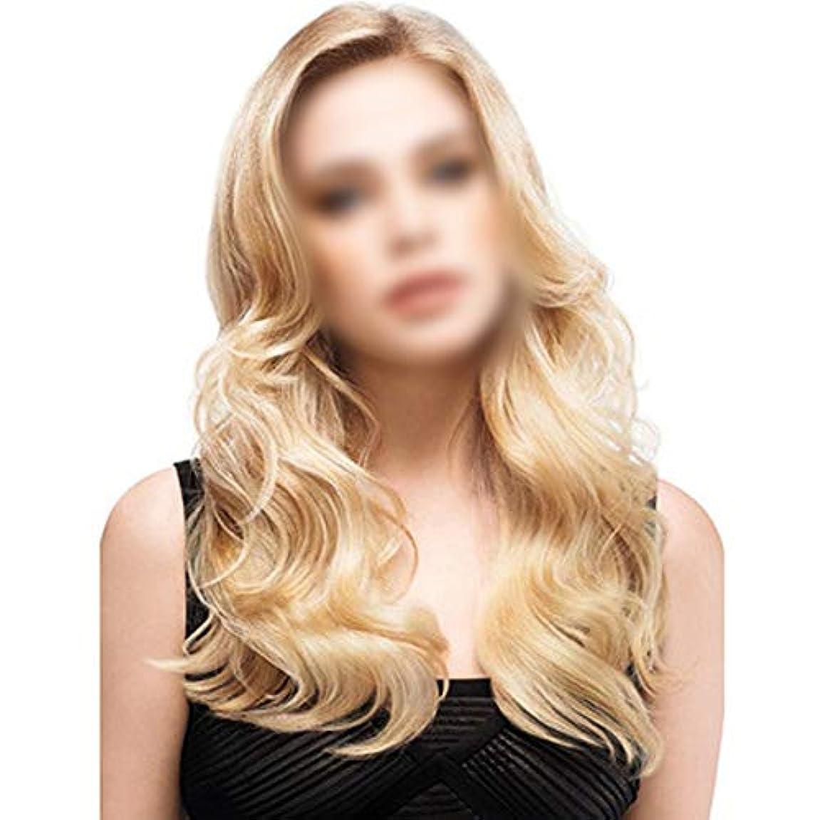 コンクリート尊敬する忘れられないWASAIO 女性のためのスタイルの交換のための長い巻き毛の波状のブロンドのかつらアクセサリー毎日のドレス耐熱繊維+キャップ (色 : Blonde, サイズ : 65cm)