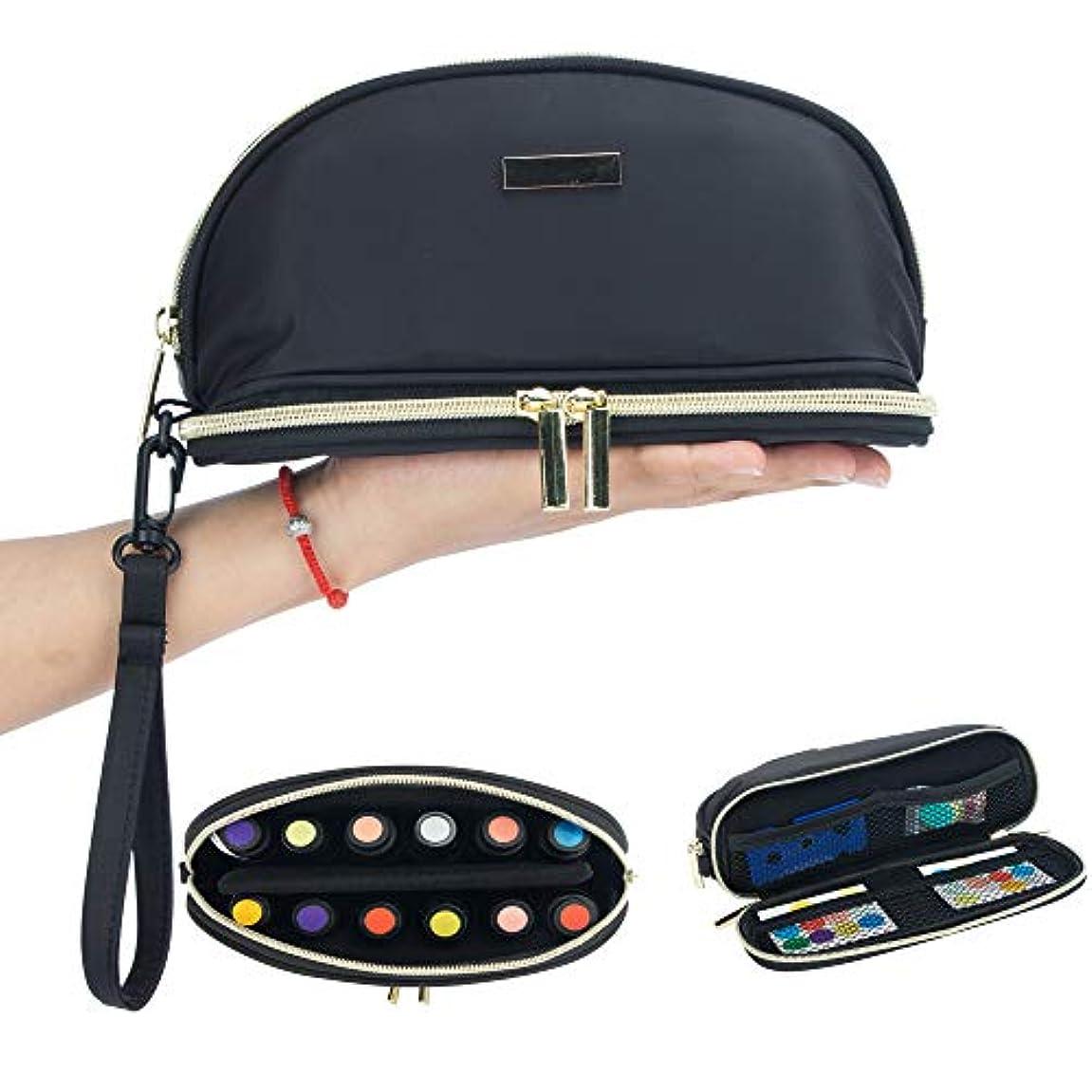 自伝デッドロック鎖[Pacmaxi]エッセンシャルオイル 収納ポーチ 携帯便利 旅行 12本収納(5ml - 15ml) ナイロン製 撥水加工 ストラップあり (12本用ブラック)