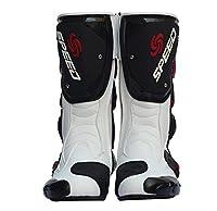 レーシングブーツ バイク用ブーツ レーシングブーツ 強化防衛靴 メンズオートバイ靴 ライディングシューズ ブラック AC1201-2 (ホワイト, 25.0cm)