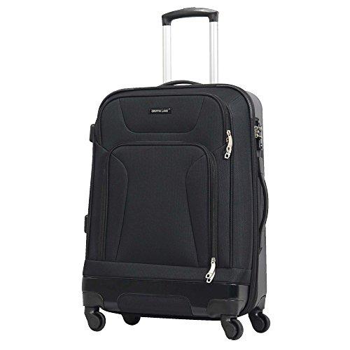 L(26) 型 ブラック/newCRUST TSAロック搭載 ハーフソフト スーツケース キャリーバッグ ソフト 大型 (7~14日用)
