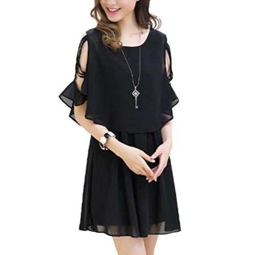 (シャンディニー) Chandeny 上品 肩みせ レディース ワンピース きれいめ シフォン ドレス ノースリーブ 04608 ブラック M サイズ