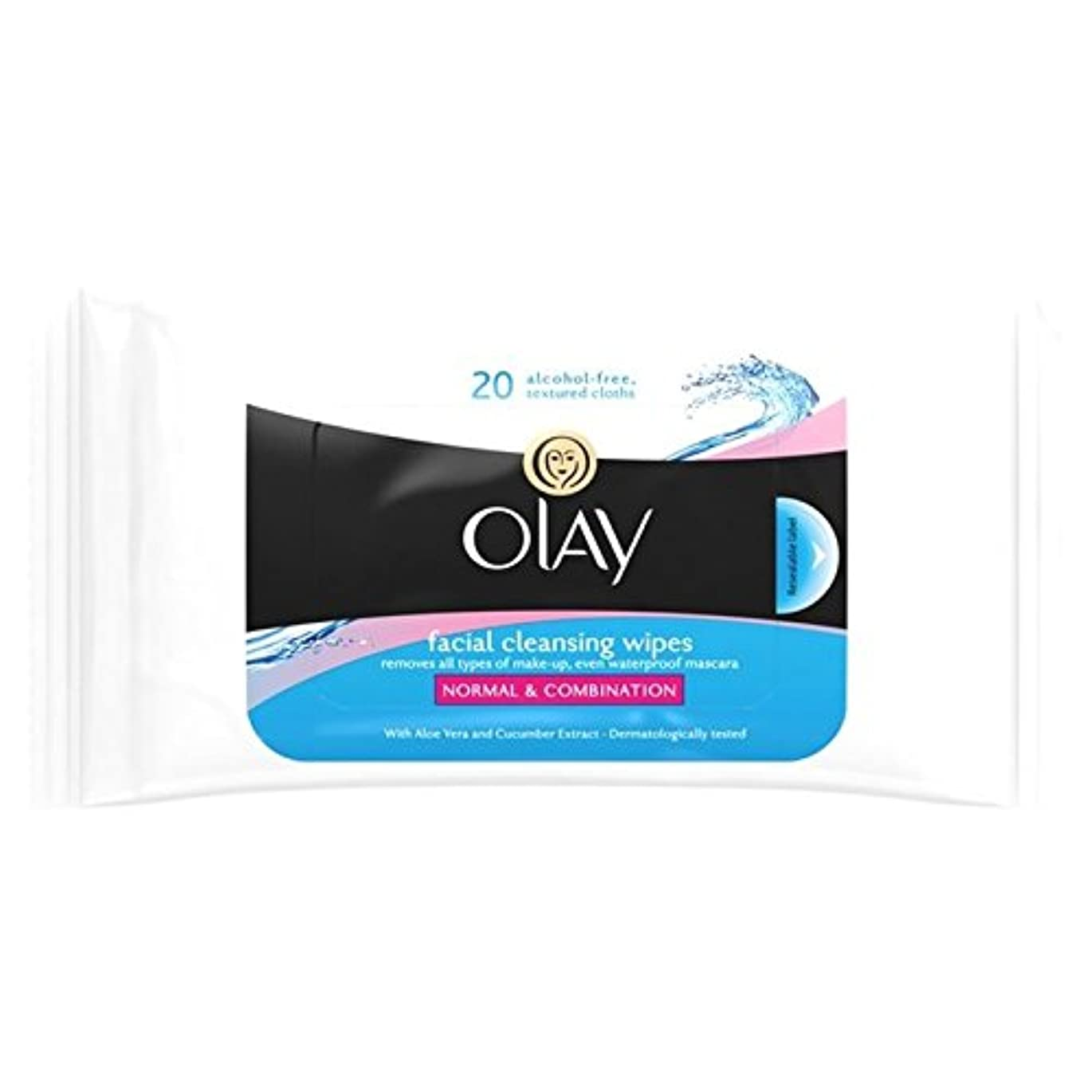 Olay Essentials Wet Cleansing Wipes Normal/Dry/Combination Skin 20 per pack (Pack of 6) - オーレイの必需品、ウェットクレンジング、...