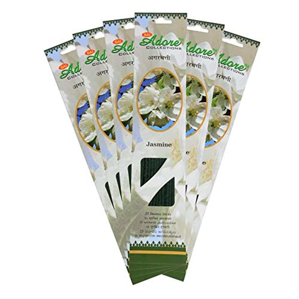 の間に運ぶ悲劇Sai Adore Agarbatti (Incense Sticks) - Jasmine Fragrance Pack of 6-150 Sticks