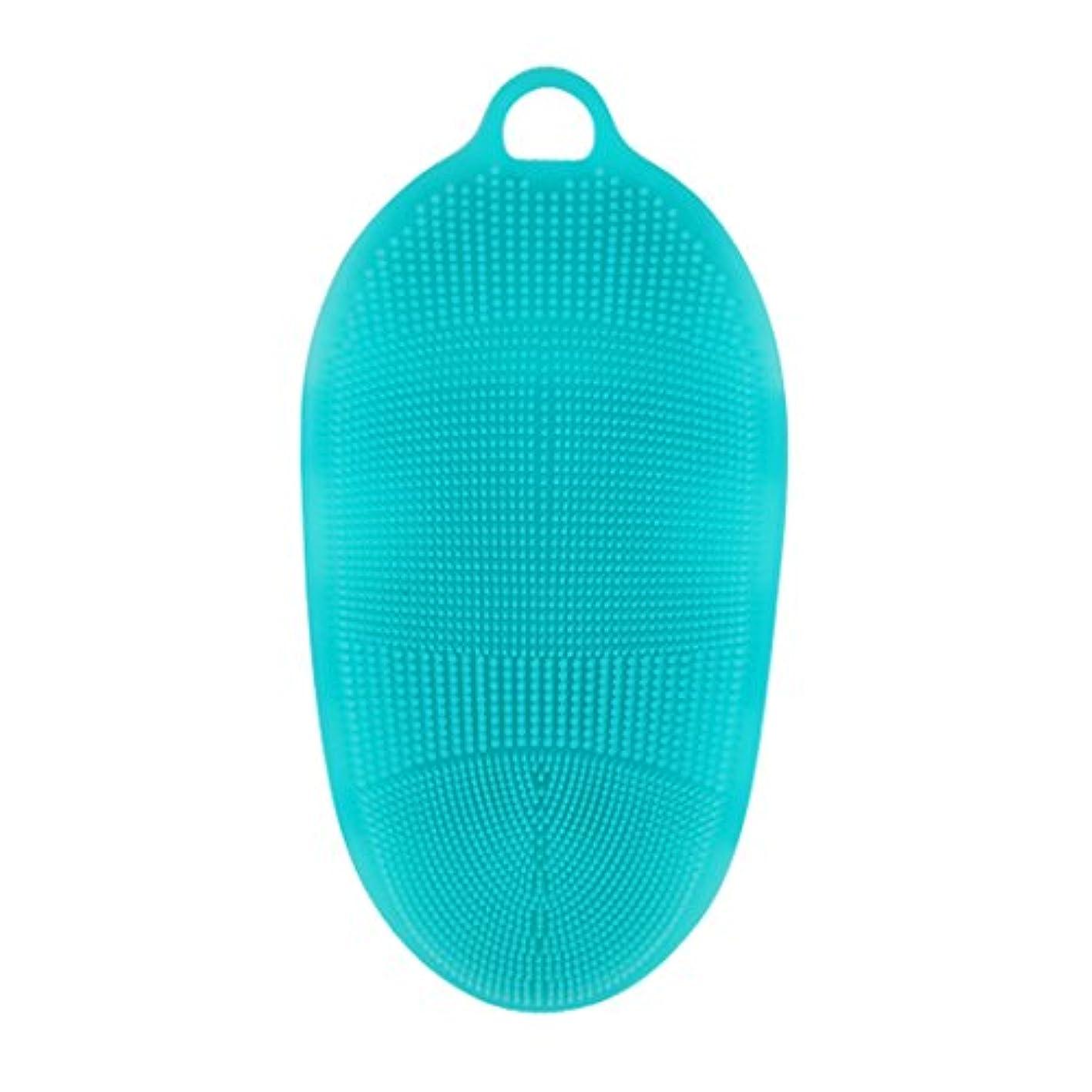 マティスダメージ届けるKapmore シリコンブラシ ウォッシュ ボディブラシ 多機能 マッサージ シャワー 肌にやさしい 垢擦り 体洗い 風呂 フットケア 4色選択可能 衛生 角質取り 毛穴清潔 泡立ち (ブルー)