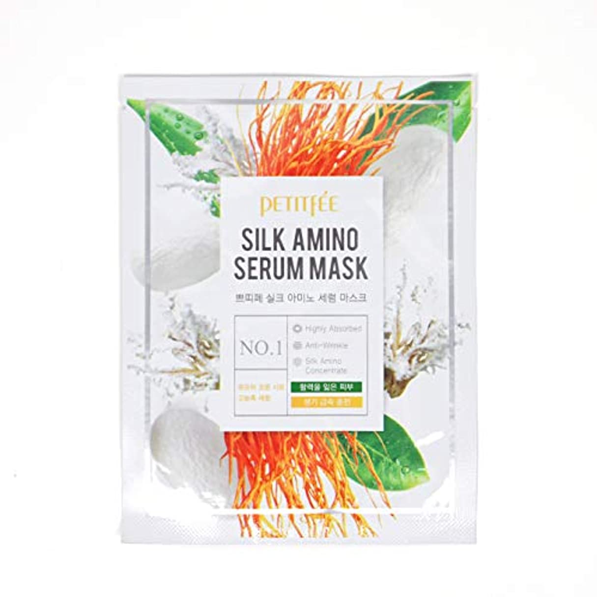 宙返り逮捕ビスケットPETITFEE (プチペ) シルクアミノセラムマスク 25gx10P (保湿) / Silk Amino Serum Mask