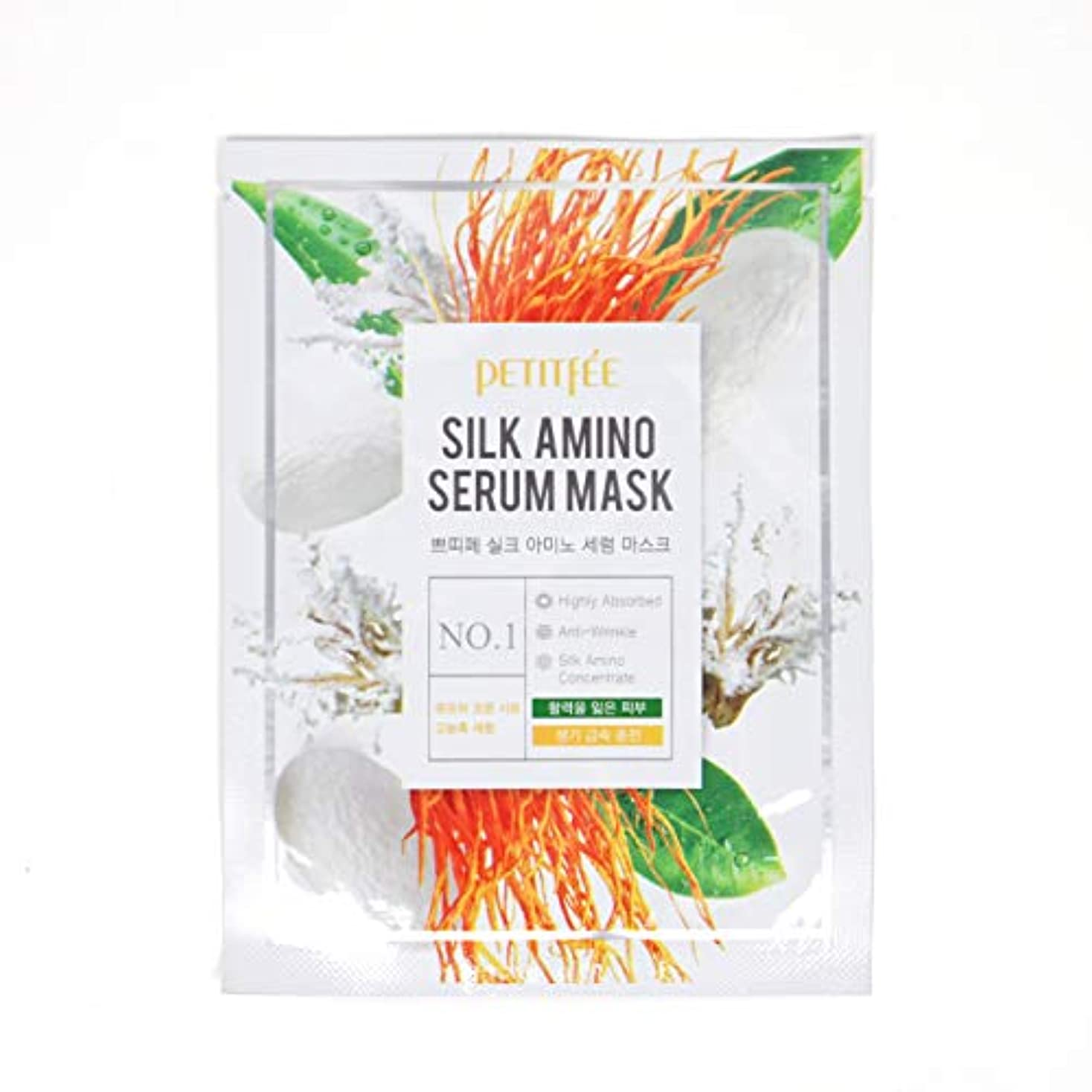 チーフ横向き階PETITFEE (プチペ) シルクアミノセラムマスク 25gx10P (保湿) / Silk Amino Serum Mask
