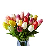 造花 枯れない花 チューリップ インテリア ギフト アートフラワー シルク製造花 20本 マルチカラー 家、事務所、店、喫茶店、結婚式、パーティーなど様々の応用場所
