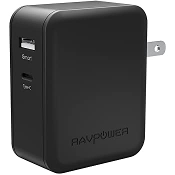 USB-C 充電器 RAVPower 36W 2ポート usb充電器 急速充電 Macbook、 Dell XPS 13、 Note 7、 Nexus 5X/ 6P、 HTC 10、 LG G5、 iPhone、 iPad など対応 -ブラック