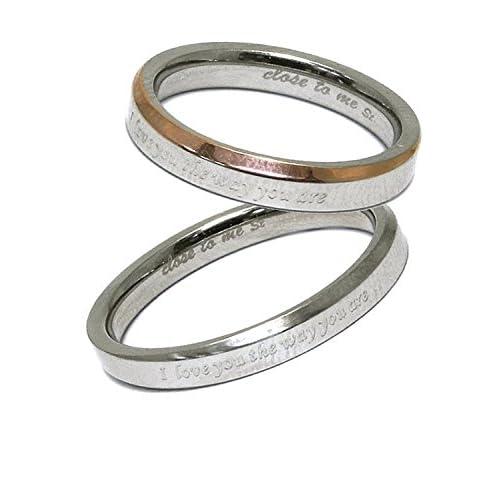 [クローストゥーミー] Close to me メッセージ ステンレス ペアリング 2個セット カップル 指輪 (女性13号男性15号) 人気 お揃い ペア