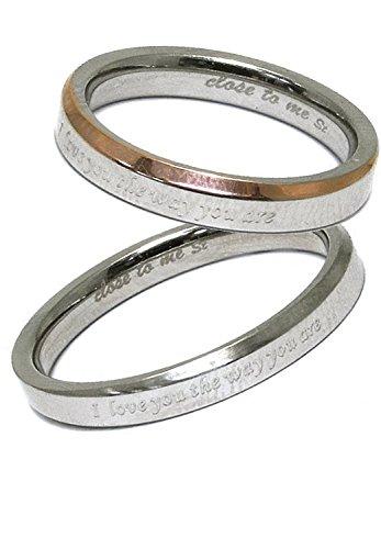 [クローストゥーミー] Close to me メッセージ ステンレス ペアリング 2個セット カップル 指輪 (女性7号男性15号) 人気 お揃い ブランド