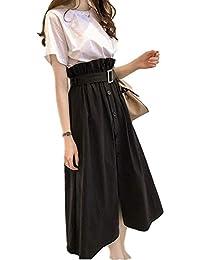 [タイセック]セットアップ スカート ロング ハイウエスト 半袖 Tシャツ カワイイ 上下 レディース M~XL