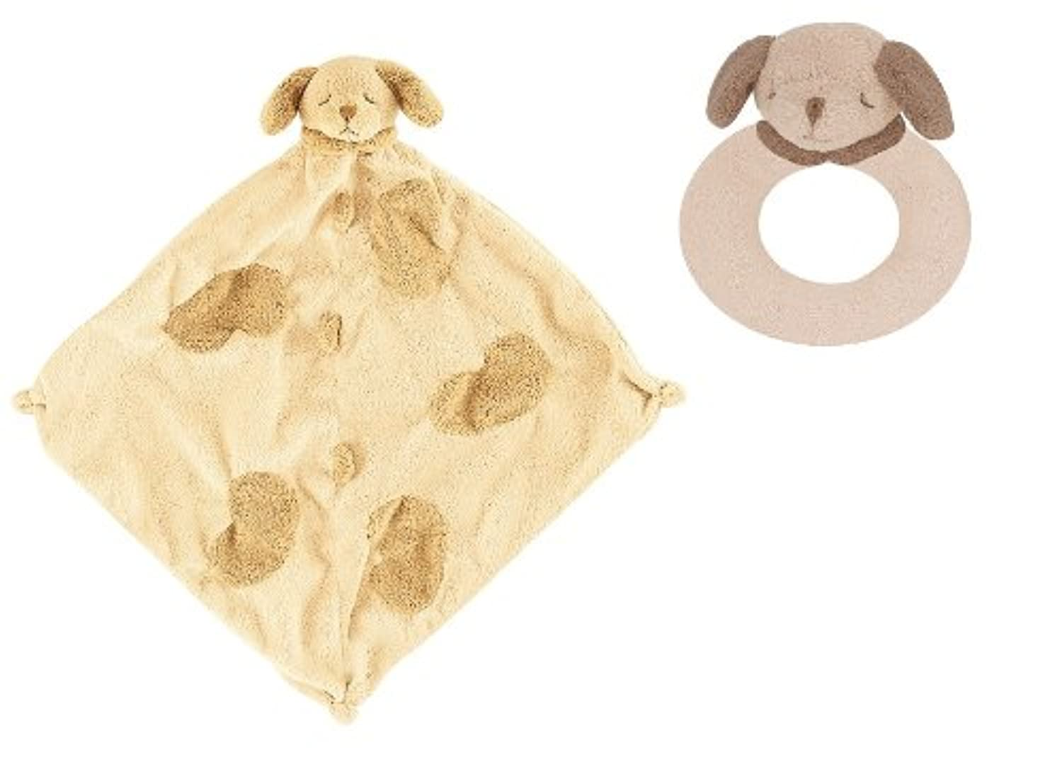 Super Soft Security Blanket with Matching Rattle Baby Gift Set : Tan Puppy Dog by Angel Dear
