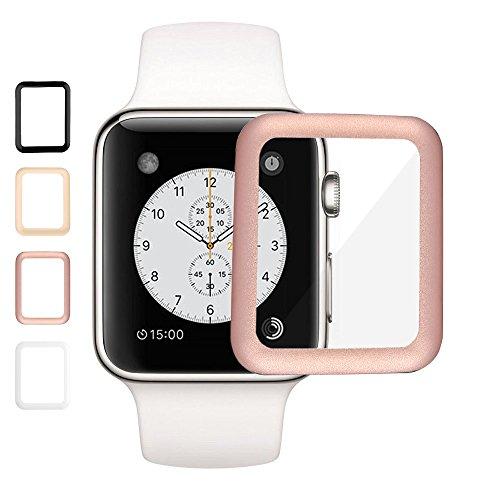 AMOVO Apple Watch フィルム 42mm 全面カバー Series 1 Series 2 全面カバー 9H Apple Watch ガラスフィルム 厚さ0.26mm・硬度9H・高光沢 フィルム (42mm, ローズゴールド)