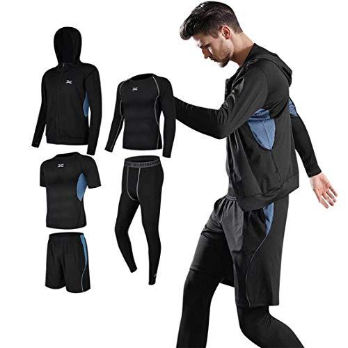 スポーツウェア セット フィットネス 運動シャツ タイツ ショートパンツ 5black M
