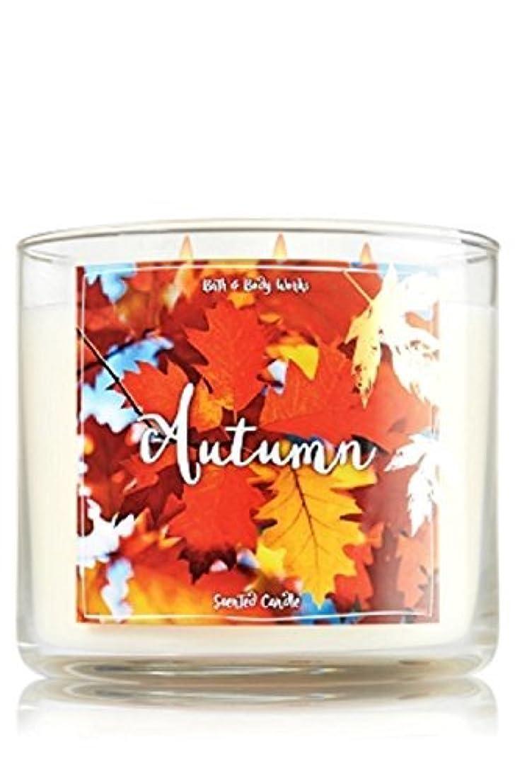 障害者希少性ロゴBath and Body Works Autumn Candle - Autumn Scent 14.5 oz Large 3-wick Candle for Fall [並行輸入品]