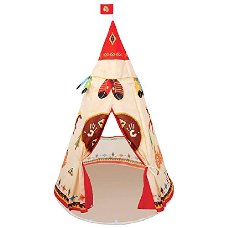 Kids Play Tent折りたたみ式Prince Princess Castle TeepeeイエローレッドPlayhouseおもちゃwith Indian Tribalインドアアウトドアファスナー付き携帯ケース