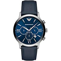 Emporio Armani Men's Quartz Watch chronograph Display and Leather Strap, AR11226